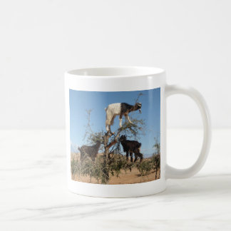 Funny goats in a tree classic white coffee mug