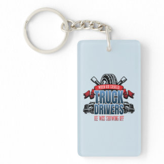 Funny God Created Truck Drivers Keychain