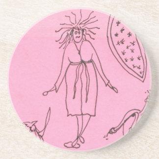 Funny Goddess Cat Gak Sandstone Coaster