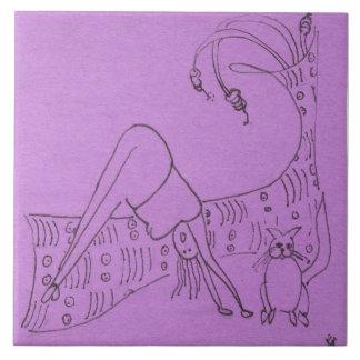 Funny Goddess Downward Dog Ceramic Tile