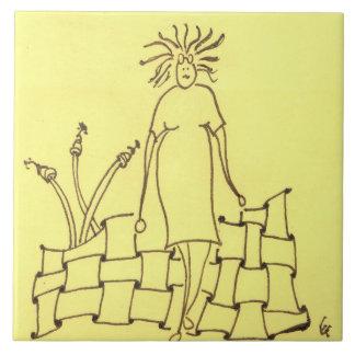 Funny Goddess Missing Glasses Large Square Tile