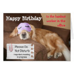 Funny Golden Retriever CoWorker Office Birthday Greeting Cards