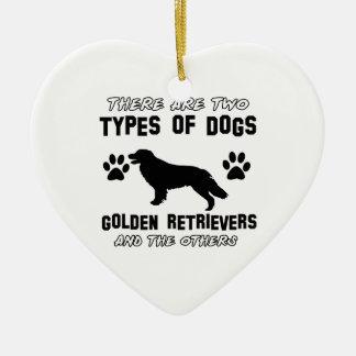Funny golden retriever designs ceramic ornament