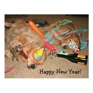 Funny Golden Retriever Happy New Year Celebration Postcard