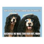 Funny Golden Retriever Lifeguard Hippie Joke Post Card