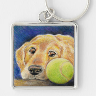 Funny Golden Retriever with Tennis Ball Silver-Colored Square Keychain