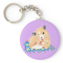 Funny Golden Syrian hamster sitting in flowers Keychain