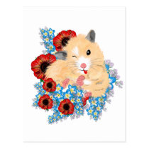 Funny Golden Syrian hamster sitting in flowers Postcard