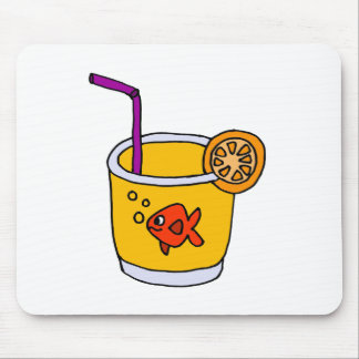 Funny Goldfish in Orange Juice Glass Mouse Pad
