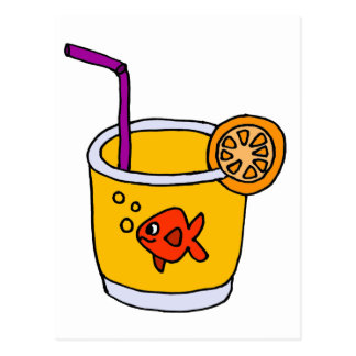 Funny Goldfish in Orange Juice Glass Postcard