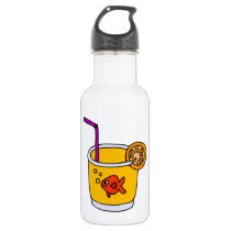Funny Goldfish in Orange Juice Glass Stainless Steel Water Bottle