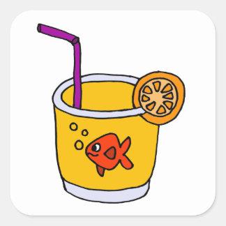 Funny Goldfish in Orange Juice Glass Sticker