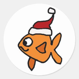 Funny Goldfish in Santa Hat Christmas Art Classic Round Sticker