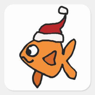 Funny Goldfish in Santa Hat Christmas Art Square Sticker
