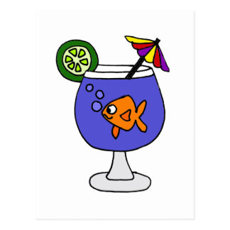 Funny Goldfish in Tropical Drink Art Postcard