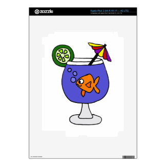 Funny Goldfish in Tropical Drink Art iPad 3 Decal