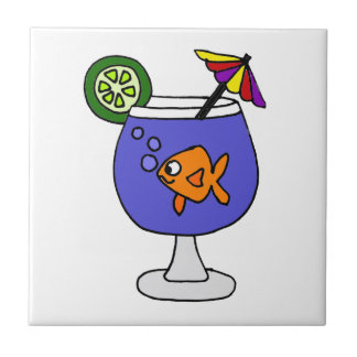 Funny Goldfish in Tropical Drink Art Ceramic Tile