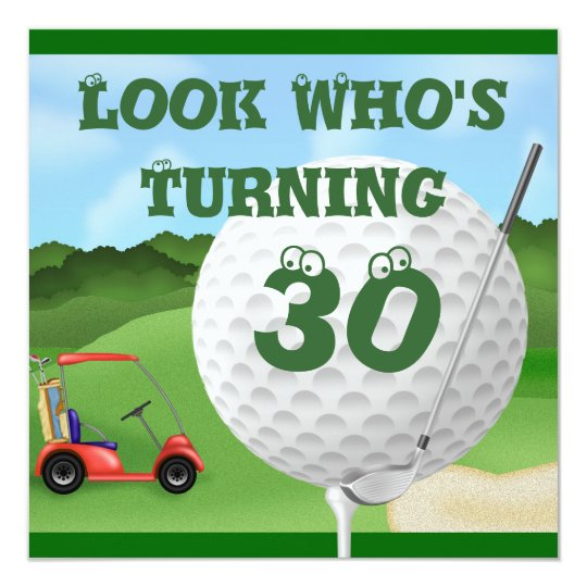 Funny Golf 30th Birthday Invitations Template