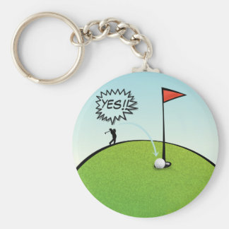 FUNNY GOLF BALL HOLE IN ONE, GOLFER GIFT KEYCHAIN