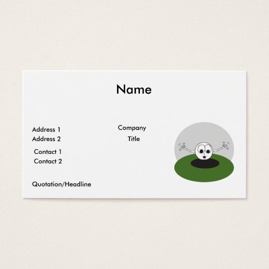 funny golf ball scared going into hole business card