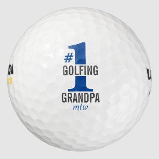 Funny Golf Balls #1 Golfing Grandpa Blue Monogram