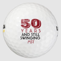 Funny Golf Balls 50th Birthday Party Monogrammed