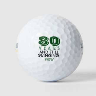 Funny Golf Balls 80th Birthday Party Monogrammed