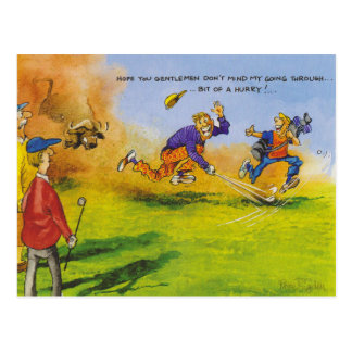 Funny golf chase postcard