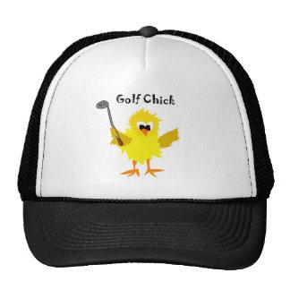 Funny Golf Chick Cartoon Art Trucker Hat