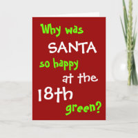Funny Golf Christmas Card - Santa Hole in One Joke