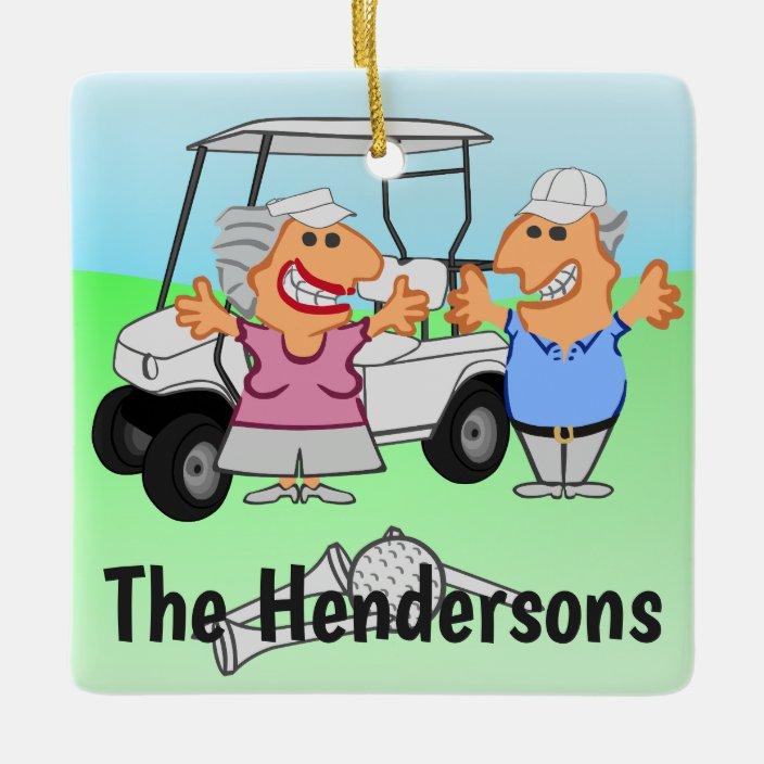 Funny Golf Couple Cartoon Ceramic Ornament Zazzle Com