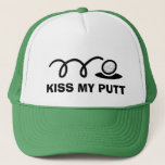 """Funny golf hats   Kiss my putt<br><div class=""""desc"""">Funny golf hats   Kiss my putt. Cute sports Birthday gift idea for men and women who love playing golf. Custom cap for golfers. Black and white golf ball and putting hole design. Golfing humor. Make your own humorous headwear for friends and family. Great for dad, uncle, husband, grandpa, coach,...</div>"""