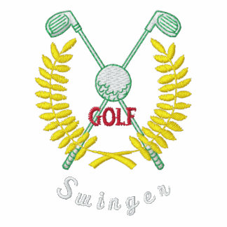 Funny Golf Logo Swinger Embroidered Polo Shirt