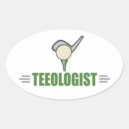 Funny Golf Oval Sticker