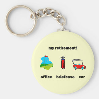 Funny golf retirement basic round button keychain