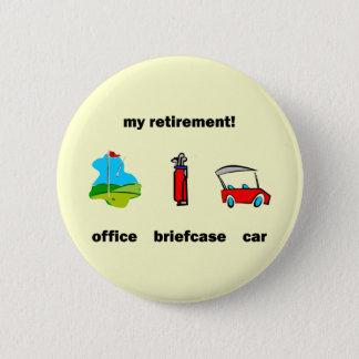 Funny golf retirement pinback button