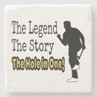 Funny Golf The Legend The Story The Hole in One Stone Coaster