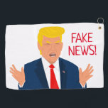 """Funny golf towel gift with Donald Trump cartoon<br><div class=""""desc"""">Funny golf towel gift with Donald Trump cartoon. Personalized presents for him or her. Humorous golfing gifts for men and women. Fun Christmas or Birthday gift ideas for golfer, husband, dad, father, friend, co worker, boss, colleague, coach, instructor, trainer, teacher, grandpa, retired person, golf lover, republican etc. Add your own...</div>"""