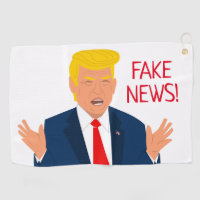 Funny golf towel gift with Donald Trump cartoon