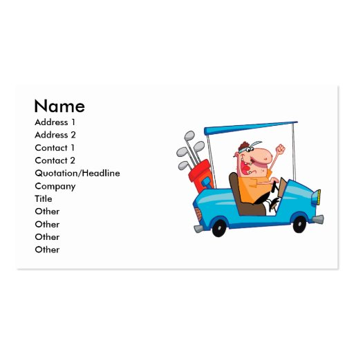 funny golfer in golf cart business card template