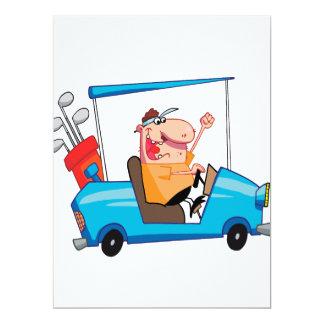 funny golfer in golf cart 6.5x8.75 paper invitation card