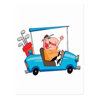 funny golfer in golf cart postcard