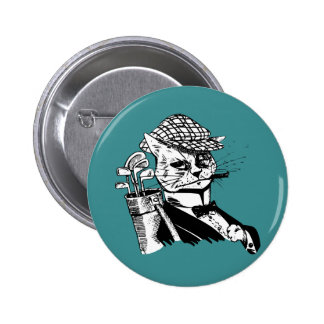 funny golfing cat button