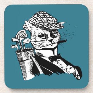 funny golfing cat coaster