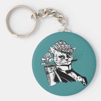 funny golfing cat keychain