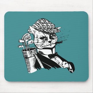 funny golfing cat mouse pad