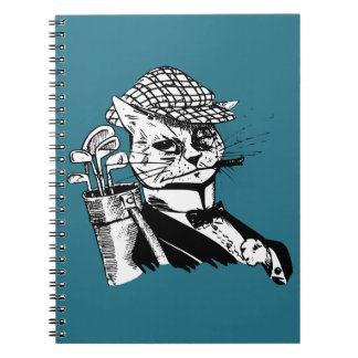 funny golfing cat note book