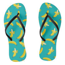 Funny Gone Bananas illustrated pattern Flip Flops