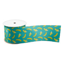 Funny Gone Bananas peeled illustrated pattern Satin Ribbon