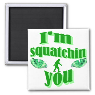 Funny gone squatching 2 inch square magnet
